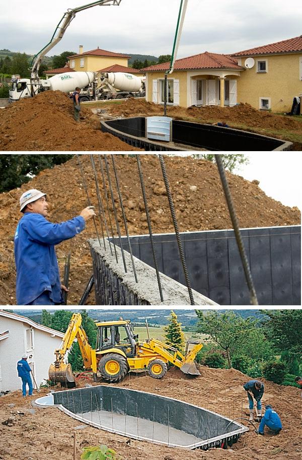 Строительство составного бетонного бассейна